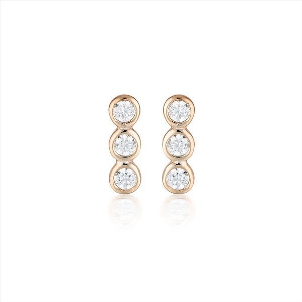 GEORGINI Trio Silver-Rose Stud Earring