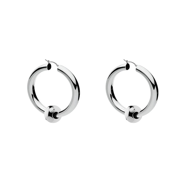 Najo 2.5X15mm Round Silver Tube With Loose 6mm Bead Hoop