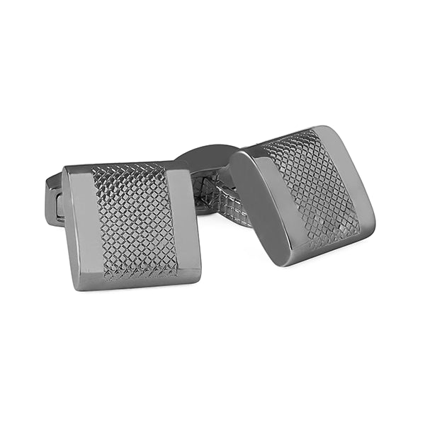 Tateossian Alpha D-Shape Embossed Cufflinks