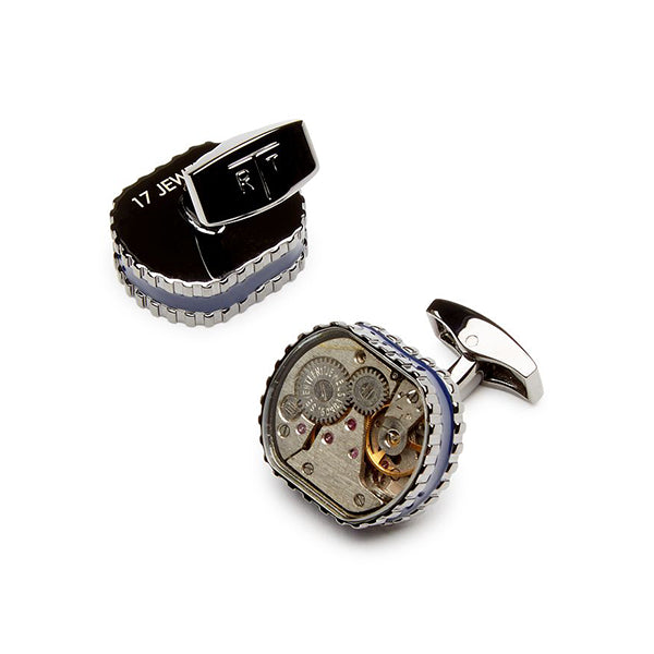 Tateossian Skeleton Gear Gun-metal Tonneau Cufflinks