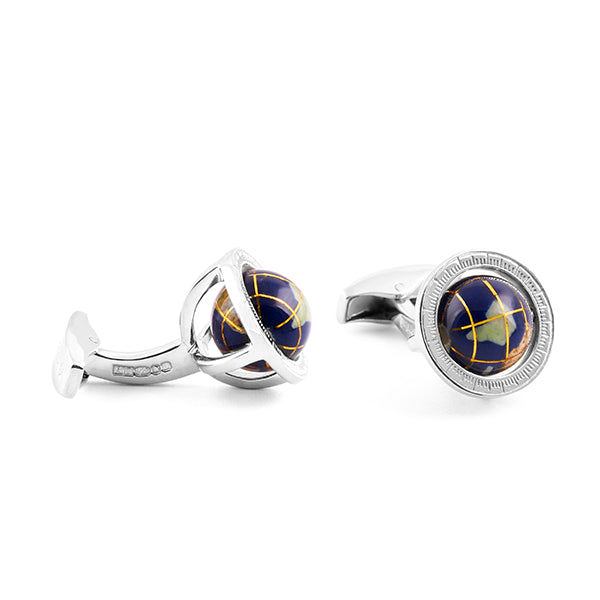 Tateossian Globe Cufflinks in Lapis and Sterling Silver