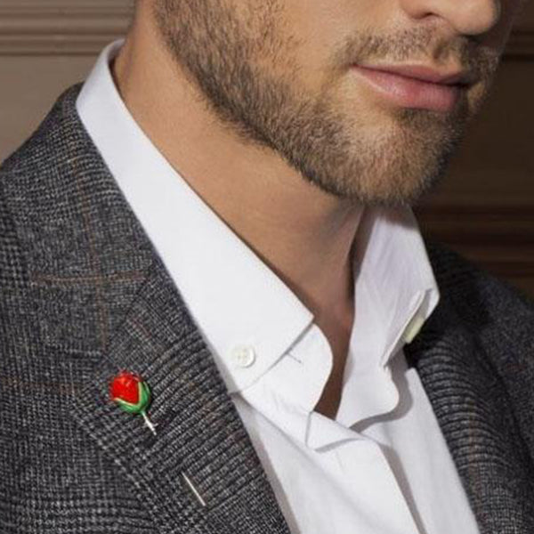 Tateossian Red Rose Lapel Pin
