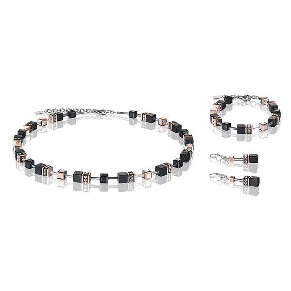 COEUR DE LION GeoCUBE® Rose Gold and Onyx Necklace