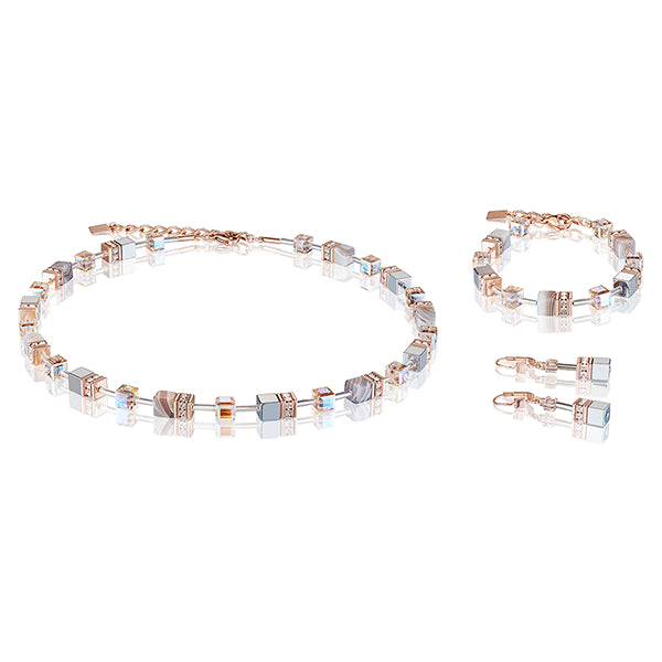 COEUR DE LION GeoCUBE® Botswana Agate and Blush Champagne Necklace