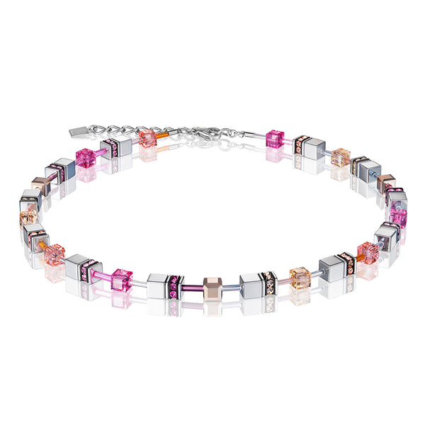 COEUR DE LION GeoCUBE® Silver Pink Champagne and Rose Gold Bracelet