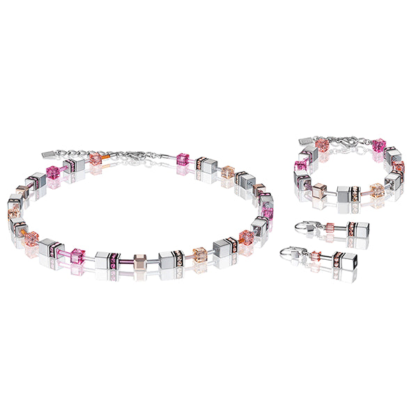 COEUR DE LION GeoCUBE® Silver Pink Champagne and Rose Gold Necklace