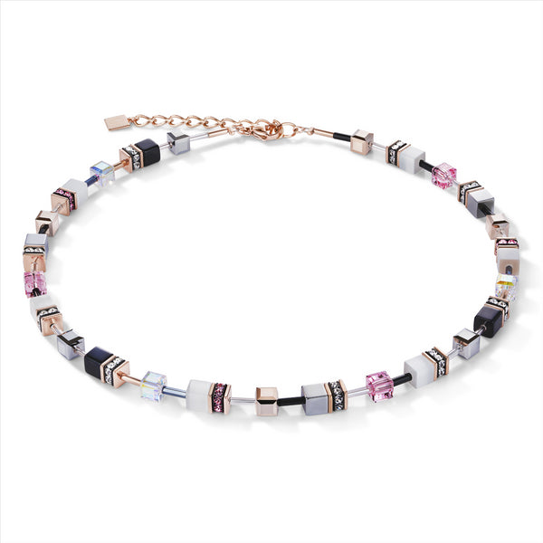 COEUR DE LION Rose, Silver, White & Black GEOCube® Necklace