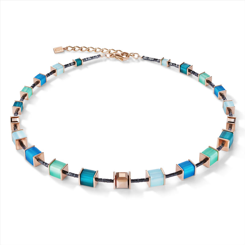 COEUR DE LION Blue, Petrol & Mint-Green GEOCube® Necklace