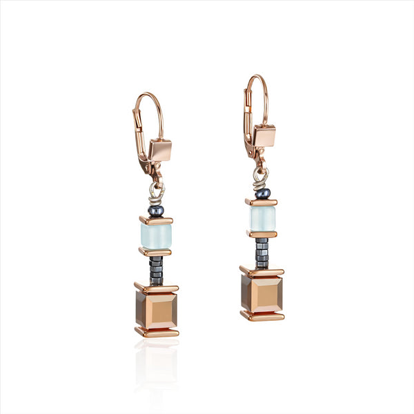 COEUR DE LION Mint-Green & Rose GEOCube® Earrings