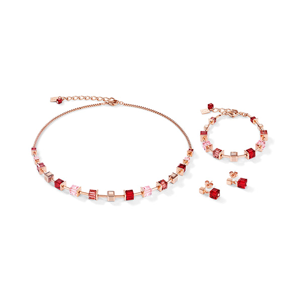 COEUR DE LION Red, Pink & Rose Gold GEOCube® Necklace