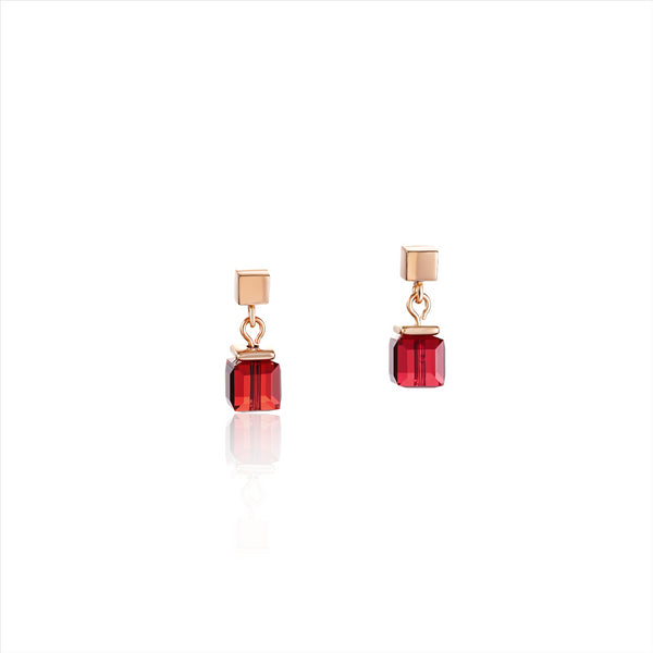 COEUR DE LION Red & Rose Gold GEOCube® Stud Earrings