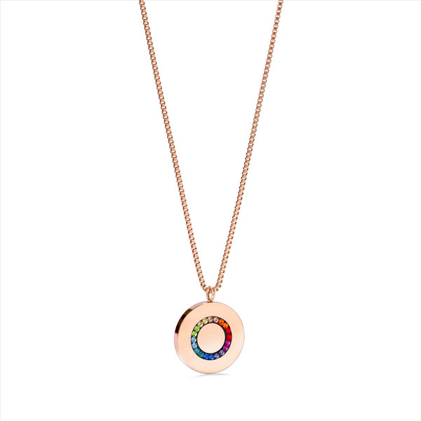 COEUR DE LION Rainbow Solid Disc Crystal Necklace