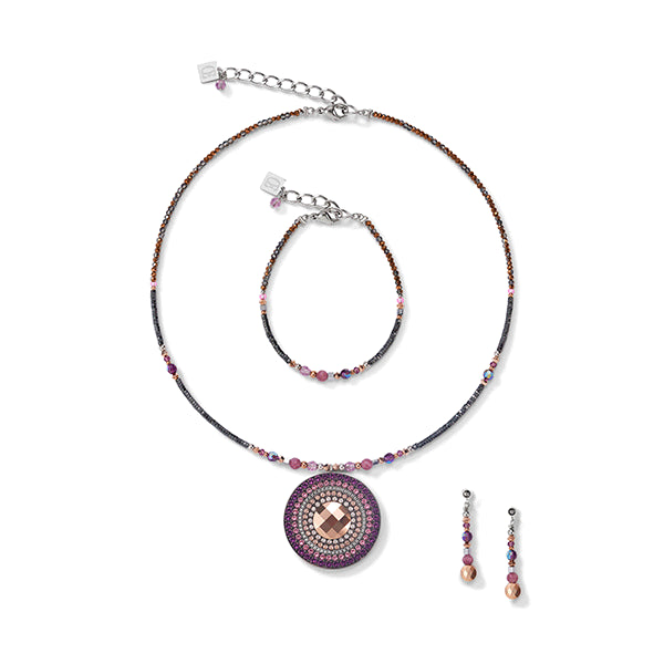 COEUR DE LION Natural Lepidolite & Amethyst Amulet Necklace
