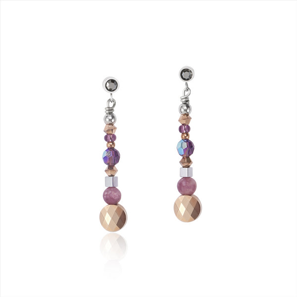 COEUR DE LION Natural Lepidolite & Amethyst Earrings