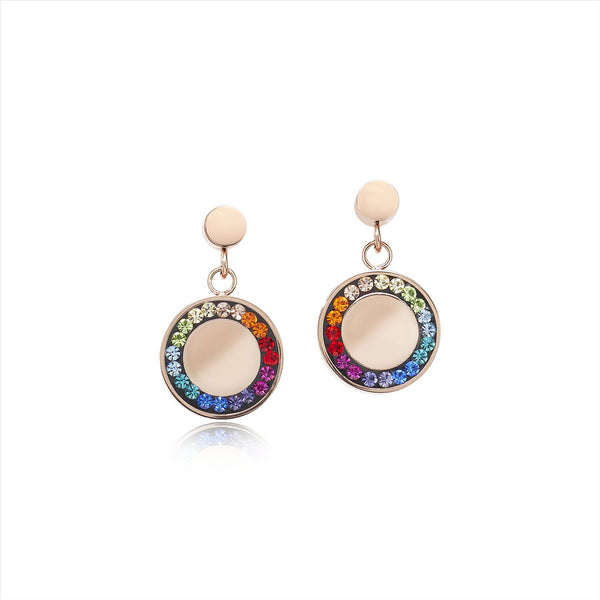 COEUR DE LION Rainbow Solid Disc Crystal Earrings