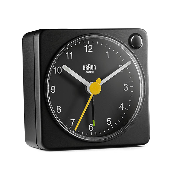 BRAUN Classic Analogue Square Black Travel Alarm Clock