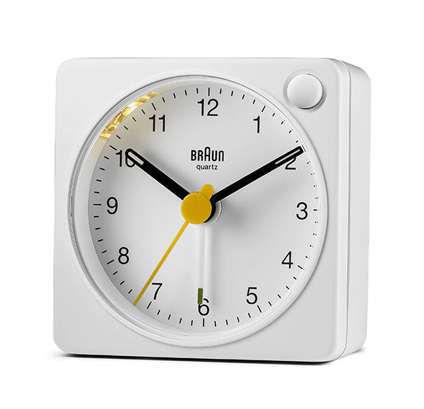 BRAUN Classic Analogue Square White Travel Alarm Clock