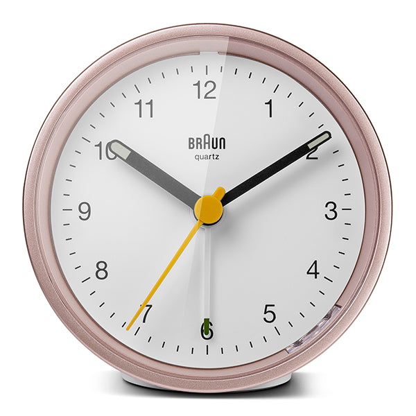 BRAUN Classic White/Rose Travel Alarm Clock