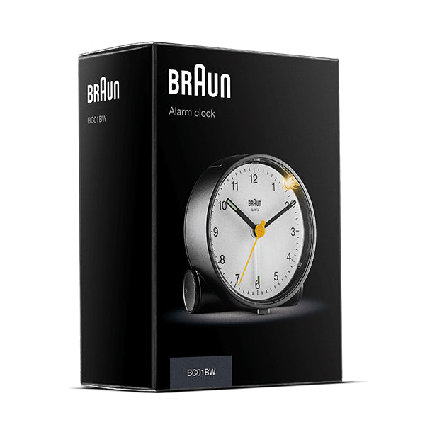 BRAUN Classic Analogue Black/White Alarm Clock
