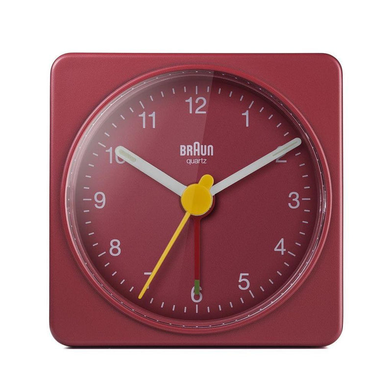 BRAUN Classic Analogue Square Red Travel Alarm Clock