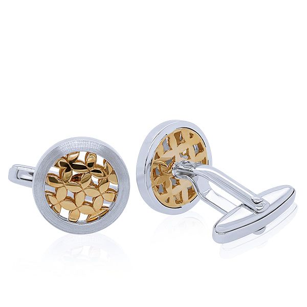 Breuning Brushed Silver & Gold Cufflinks