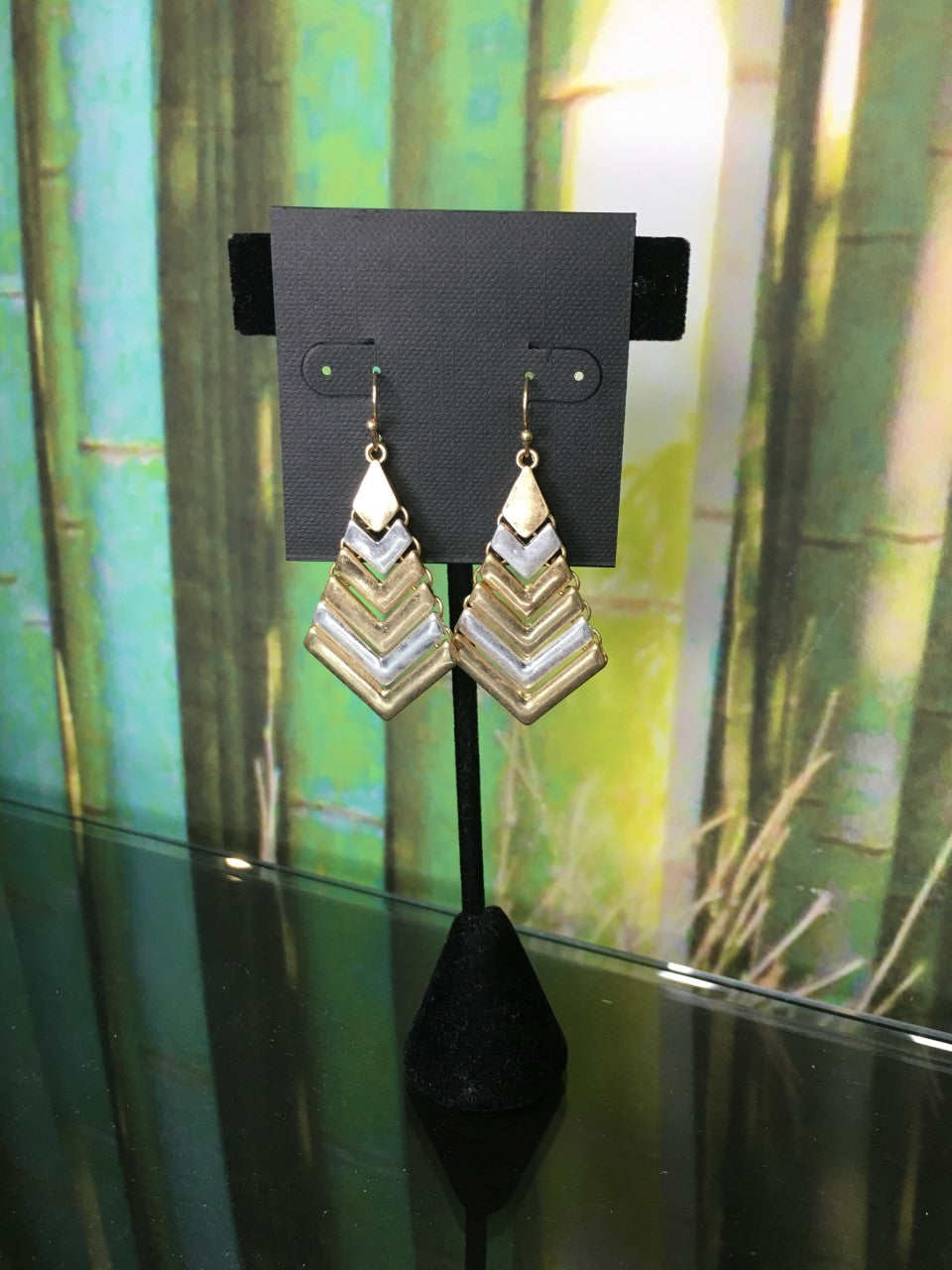 Falling Gold and Silver Earrings