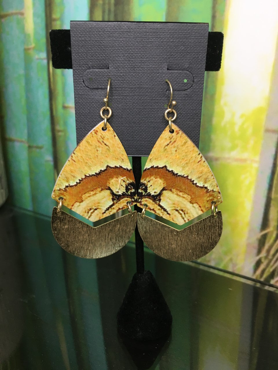 Neutral Wood & Gold Earrings