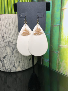 Nude Faux Leather Earrings with Beading