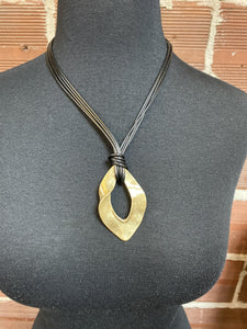 Chord Necklace with Large Gold Medallion