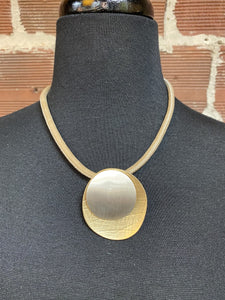 Khaki Faux Leather Cord Necklace with Circle Hammered Pendent