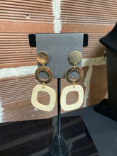 Load image into Gallery viewer, Gold Dangle Earring with Wood Square