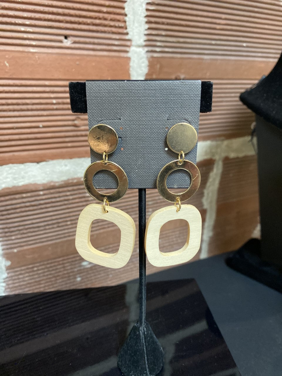 Gold Dangle Earring with Wood Square