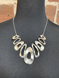 Hammered Matter Silver Oval Necklace