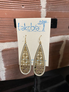 Long Dainty Filigree Gold Earrings with Silver Sparkle