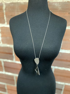 Long Modern Silver & Black Accent Necklace