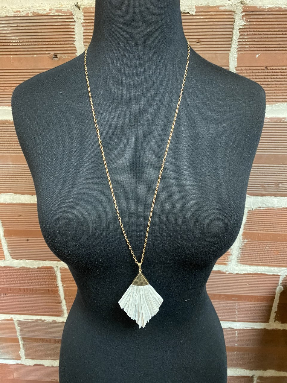 Hammered Long Necklace with Paper Tassels
