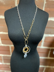 Long Silver and Gold Chunky Chain with Pendent