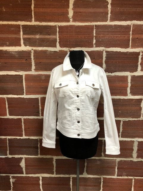 Long Sleeve Jacket With Topstitching  White