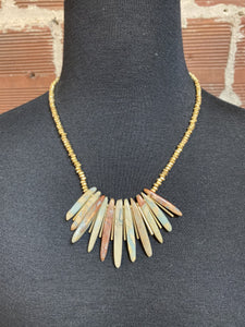 Gold Beaded Necklace with Stone