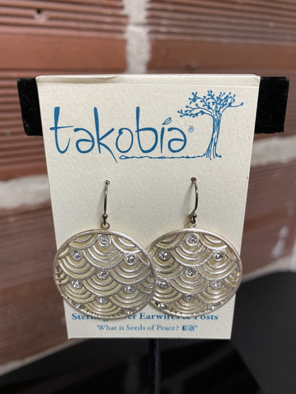 Scalloped Circle Earrings with Crystals