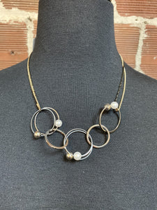 Silver, Gold & Black Circles and Pearls Necklace