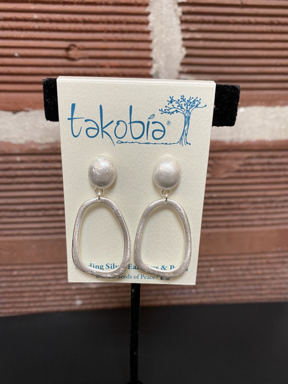 Silver Studs with Hanging Oval Earrings
