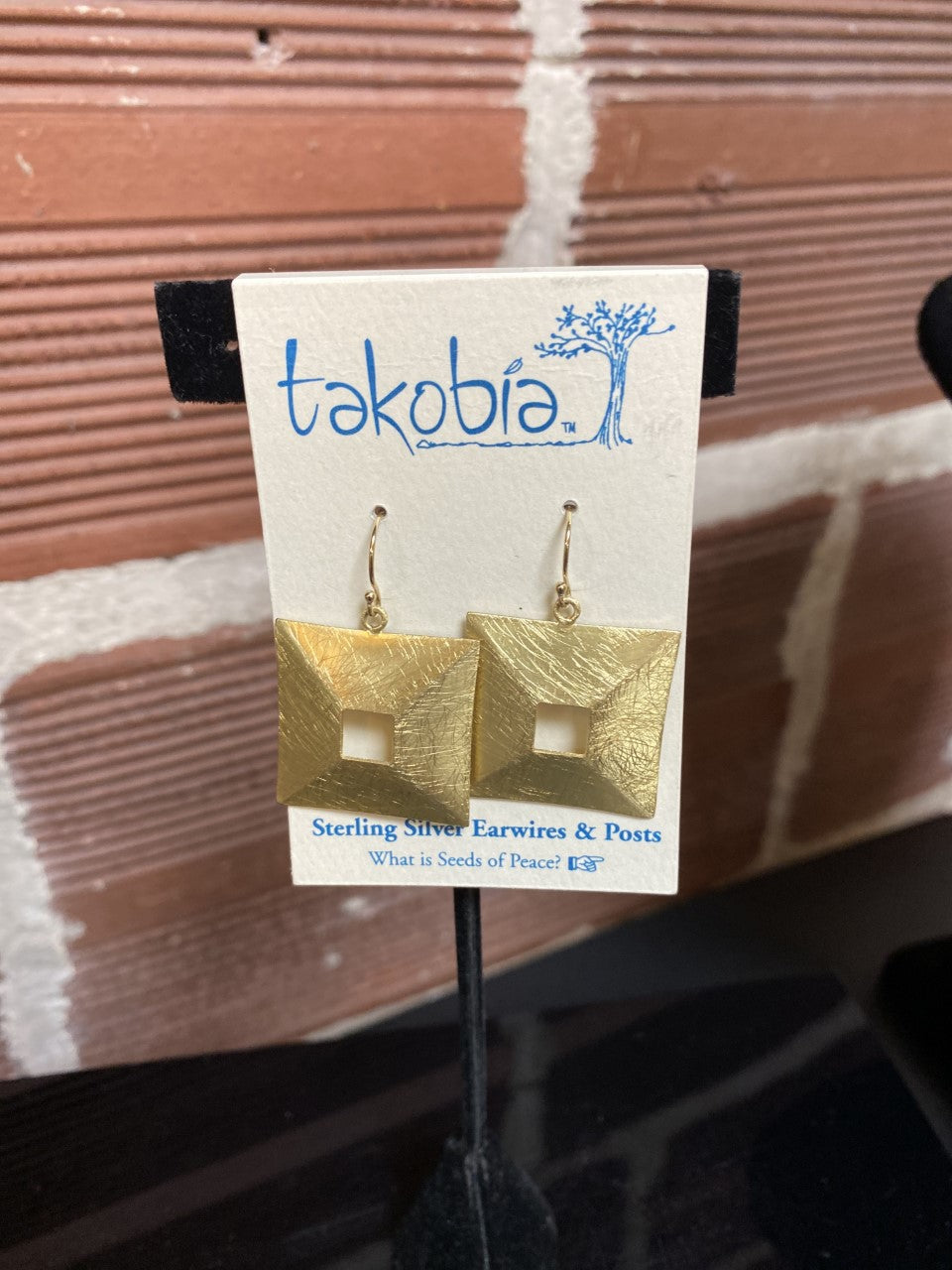 Open Square Hammered Earrings