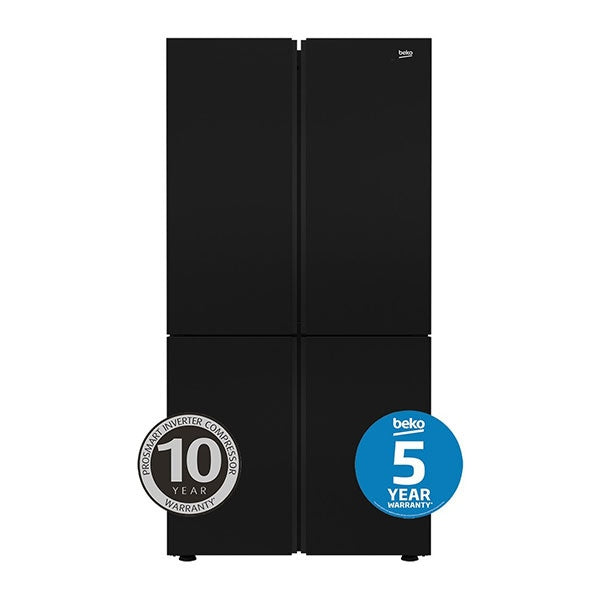 BEKO BFR630DB 626L Black Glass Four Door Fridge