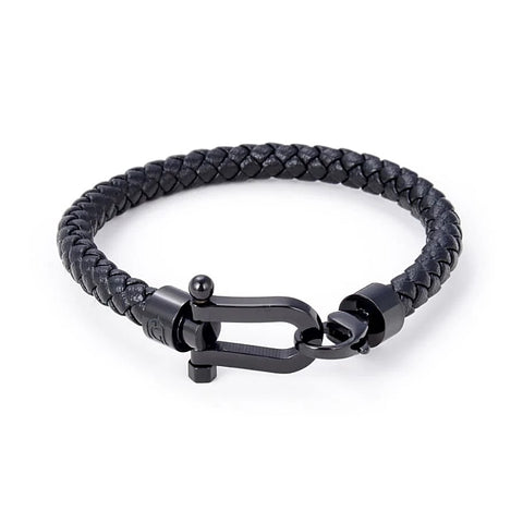 Giorgio Milano Black Ion Plated Steel Horse Shoe Braided Leather Bracelet