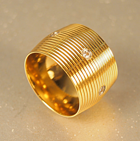 Gold Tone Steel Crystal Barrel Ring