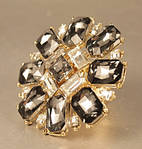 Fashion Gold Tone Crystal Ring