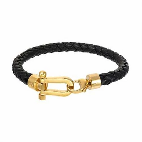 Giorgio Milano Gold Ion Plated Steel Horse Shoe Braided Leather Bracelet