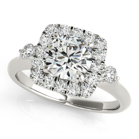 14k 1.00ct Diamond Halo Engagement Ring