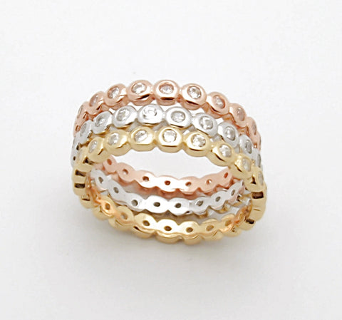 Sterling Silver Tri Color CZ Stackable Rings